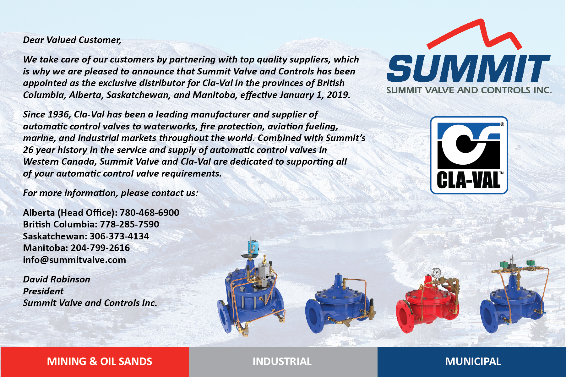 Summit-Valve Cla-Val Exclusive Distributor